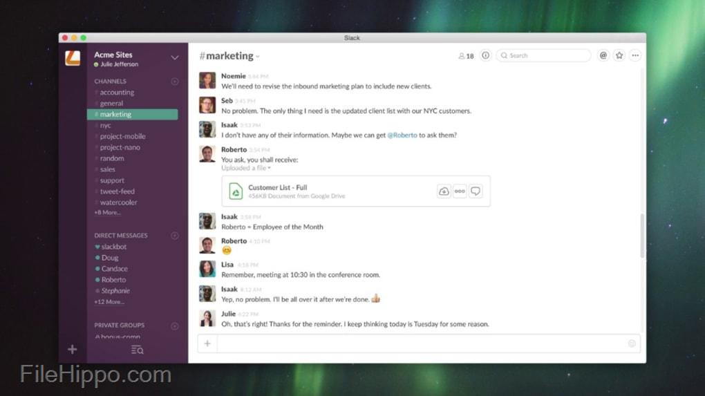 عميل ويب Slack Team Messenger