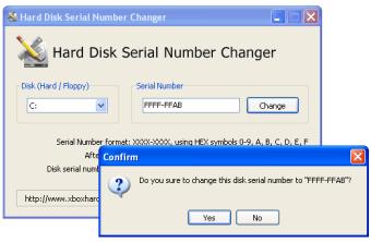 Hard Disk Serial Number Changer