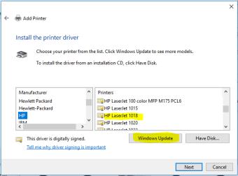 HP LaserJet 1018 Printer drivers