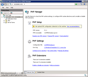 PHP Manager for IIS 7